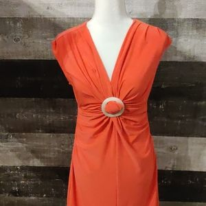 Joseph ribkoff Coral gathered bodycon dress
